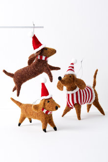 Sausage Dog Family Hanging Decorations Set of Three