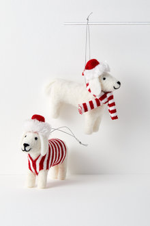 Snow Dog Hanging Decorations Set of Two