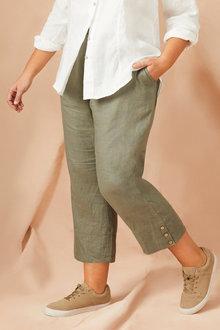 Plus Size - Sara Linen Crop Pant - 224626