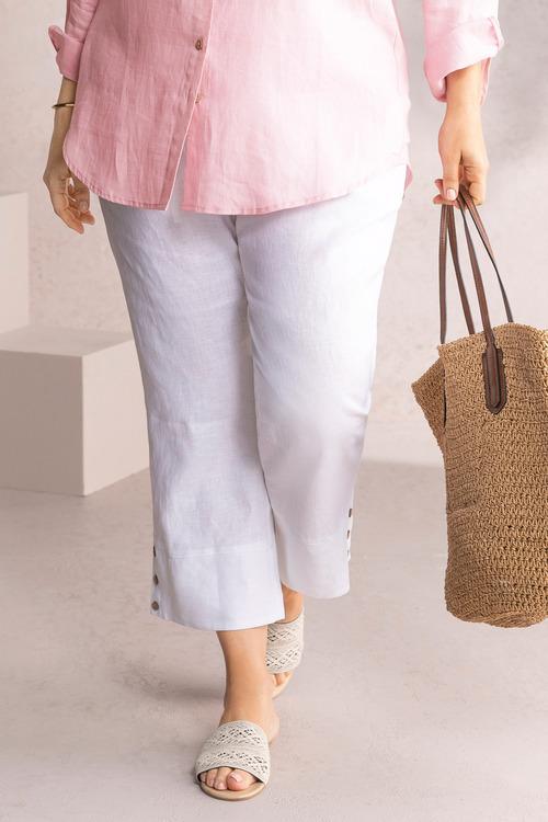 Plus Size - Sara Linen Crop Pant