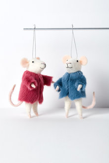 Mink Mice Hanging Decorations Set of Two
