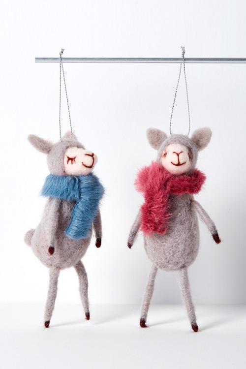 Mink Llama Hanging Decorations Set of Two