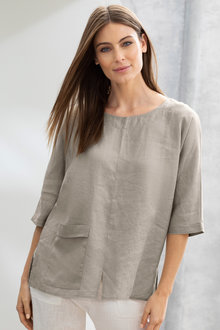 Grace Hill Linen Asymmetrical Top