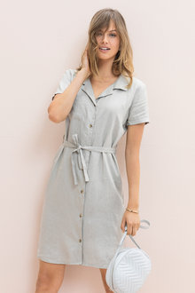 Emerge Linen Shirt Dress - 224654