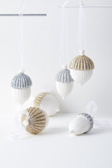 Glitter Acorn Small Hanging Decoration Assorted Set of Six
