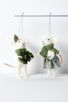 Ivy Mice Hanging Decorations Set of Two
