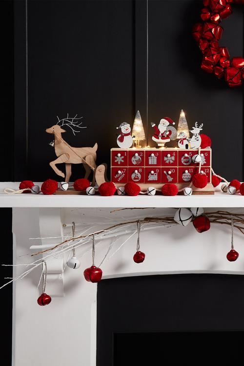 Jingle Bell Red Pom Pom Garland