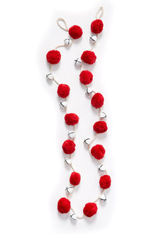 Jingle Bell Red Pom Pom Garland