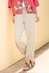 Capture Linen Tie Cuff Pocket Crop