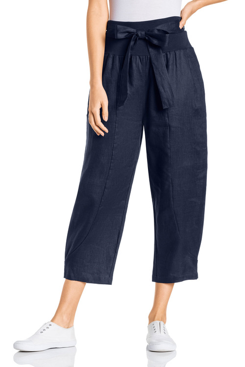 Grace Hill Pull On Tie Waist Crop Linen Pants