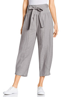 Grace Hill Pull On Tie Waist Crop Linen Pants