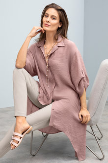 Grace Hill Longline Tab Sleeve Shirt
