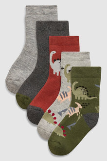 Next Dino Thermal Socks Five Pack (Younger)