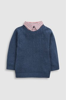 Next Mini Cable Knit Mockshirt (3mths-6yrs)