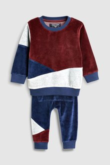 Next Velour Colourblock Crew And Joggers Set (3mths-6yrs)
