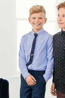 Next Long Sleeve Smart Dobby Shirt With Dino Tie And Tie Pin (3-16yrs)