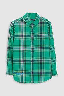 Next Long Sleeve Longline Check Shirt With Badges (3-16yrs)