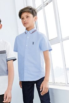 Next Short Sleeve Tape Collar Detail Shirt (3-16yrs)