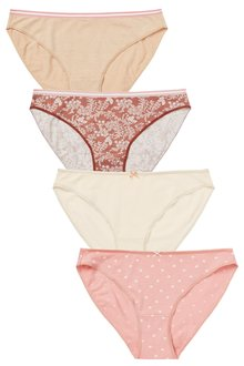 Next Cotton Knickers Four Pack-High Leg