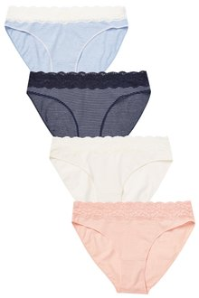 Next Lace Trim Cotton Knickers Four Pack-High Leg