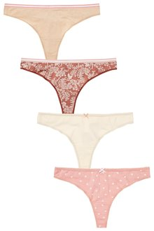 Next Cotton Knickers Four Pack-Thong