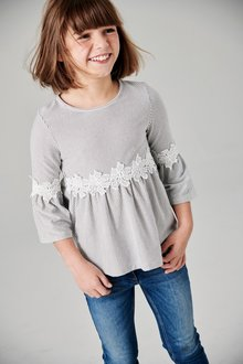 Next Stripe Lace Waist Top (3-16yrs)