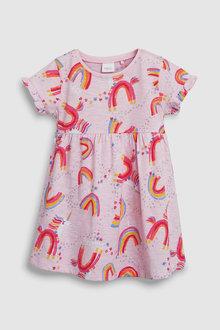 Next Short Sleeve Unicorn Print Dress (3mths-7yrs)