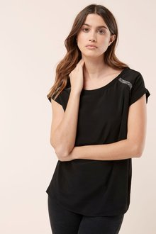 Next Embellished Shoulder T-Shirt-Petite