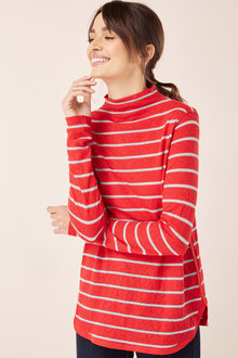 Next Striped Curve Hem Top-Petite