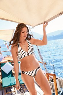 Next Textured Stripe Triangle Bikini Top