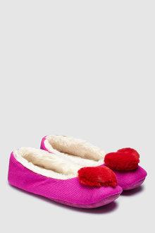 Next Heart Pom Ballerina Slippers