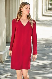 Next V-Neck Crepe Shift Dress-Petite - 225896