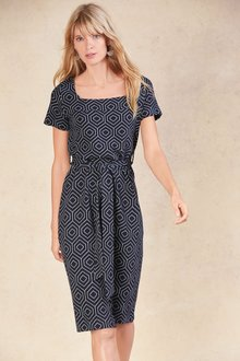 Next Square Neck Jacquard Dress-Petite
