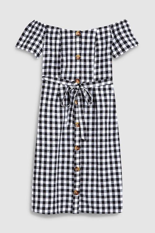 Next Mono Gingham Off Shoulder Dress