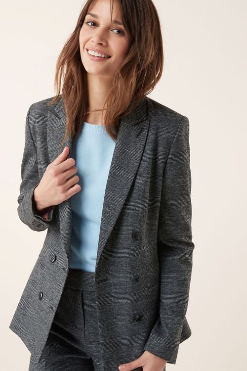 Next Prince Of Wales Check Double Breasted Relaxed Jacket-Petite