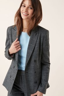 Next Prince Of Wales Check Double Breasted Relaxed Jacket-Petite - 225978