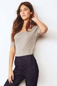 Next Square Neck Skinny Top-Tall