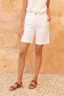 Next Linen Blend Knee Shorts-Tall