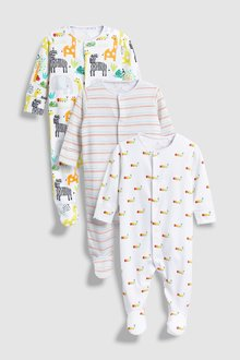 Next Character/Stripe Sleepsuits Three Pack (0mths-2yrs)