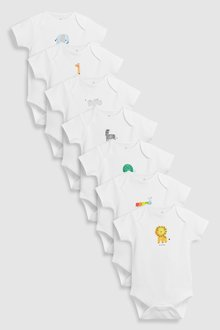 Next Bright Character Short Sleeve Bodysuits Seven Pack (0mths-2yrs) - 226138