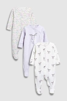 Next Delicate Bunny Sleepsuits Three Pack (0mths-2yrs)