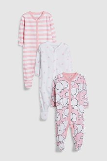 Next Elephant Character Sleepsuits Three Pack (0mths-2yrs)