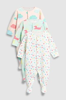 Next Dog And Balloon Sleepsuits Three Pack (0mths-2yrs)