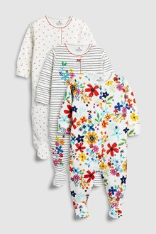 Next Stripe/Floral Embroidered Sleepsuits Three Pack (0mths-2yrs)