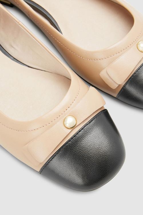 Next Leather Stud Bow Ballerinas