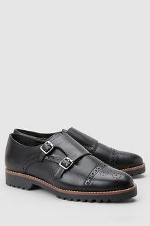 Next Leather Heavy Sole Monk Shoes