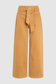 Next Belted High Waist Wide Leg Ankle Jeans