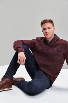 Next Textured Shawl Neck Jumper