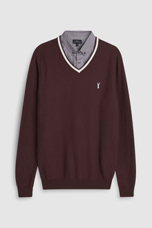 Next Tipped Mock V-Neck Jumper