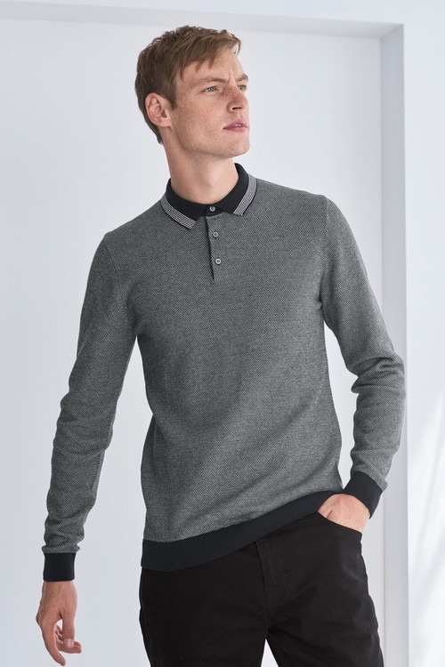 Next Textured Tipped Polo